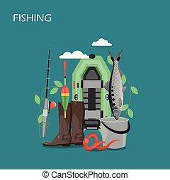 Flat design illustration mit fischer und jäger. vector.