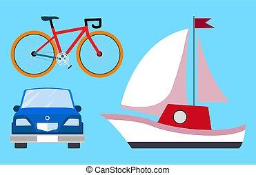 Blaues fahrrad mit trainingsrädern und flagge, kinder