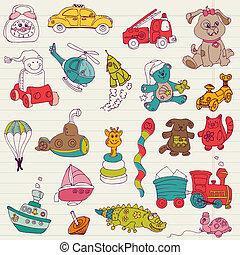 -, vektor, design, spielzeuge, baby, sammelalbum, doodles