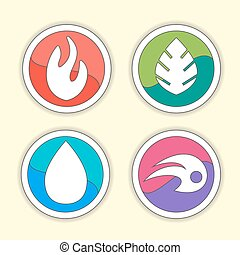 -, vektor, jelkép, víz, 4 elem, elbocsát, levegő, természetes, set., ikonok, ground.