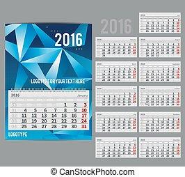 -, vektor, monat, 2016, planer, kalender