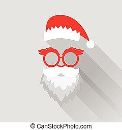 -, vektor, retro, santa, card christmas