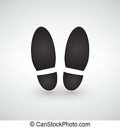 -, vektor, sort sko, tryk, skygge, ikon