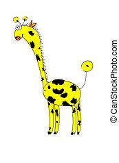 -, vektor, spielzeuge, baby, giraffe., weich