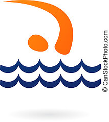 -, vektor, sport, figur, svømning