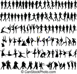 -, vektor, sport, kollektion