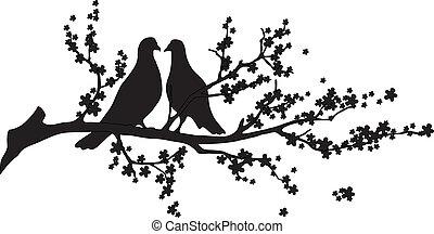 -, vektor, træ, fugle