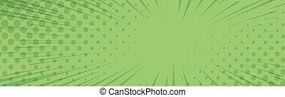 -, vektor, zoom, panoramisch, komiker, linien, grün