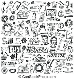 -, venta, escoger, doodles, hogar