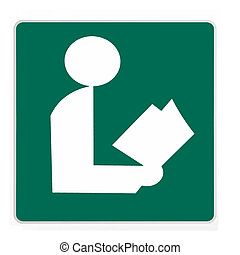 -, verde, camino, biblioteca, señal