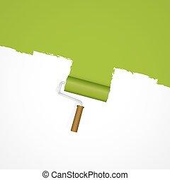 -, verf , groene achtergrond, repainting, rol