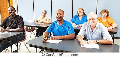-, verscheidenheid, volwassene, spandoek, opleiding