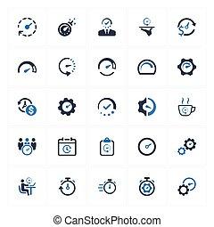 -, version, administration du temps, bleu, icones affaires