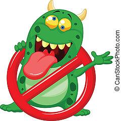 -, vert, arrêt, dessin animé, virus