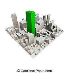 -, vert, gratte-ciel, cityscape, modèle, 3d