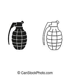 -, vert, grenade, main, vecteur, icône