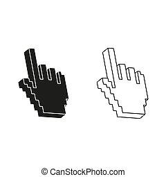 -, vert, main, pixel, vecteur, icône