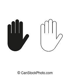 -, vert, main, vecteur, icône