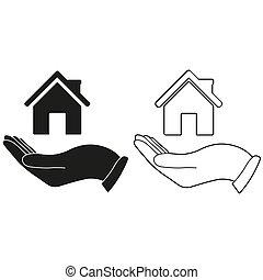 -, vert, maison, tenant main, vecteur, icône