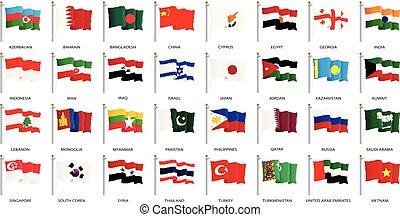 -, verzameling, zwaaiende , vector, vlaggen, azie, wereld, wind