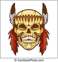 -, vesign, americano nativo, cráneo, vendimia, jefe
