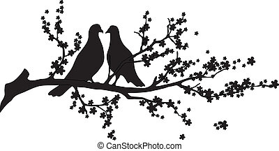 -, vetorial, árvore, pássaros