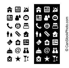 -, vetorial, ícone, jogo, hotel, ícones