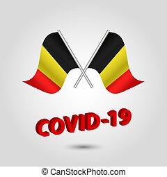 -, vetorial, bandeiras, título, cruzado, coronavirus, ícone, waving, jogo, 3d, vermelho, prata, covid-19, bélgica, texto, polaco, dois