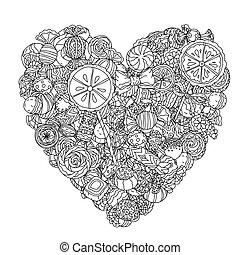 -, vetorial, cobrança, doces, bala doce, ícones, ilustração