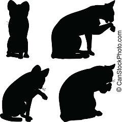 -, vetorial, cobrança, gatos, silueta