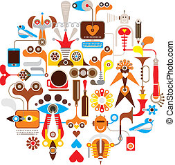 -, vetorial, criação, redondo, ilustração