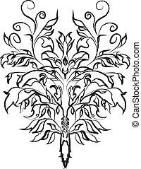-, vetorial, decorativ, ramo