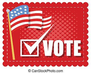 -, vetorial, eleição, voto, bandeira, dia