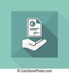 -, vetorial, euro, documento, pagamento, ícone