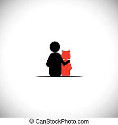 -, vetorial, filha, junto, relacionamento, ícone, pai, ligar
