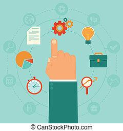 -, vetorial, gerência, conceito negócio