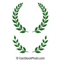 -, vetorial, grinaldas, laurel, verde, ilustração