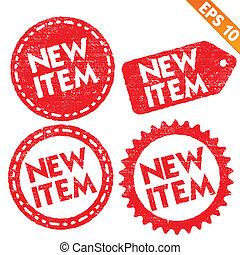 -, vetorial, item, novo, sele coleção, eps10, adesivo, ilustração, tag