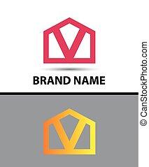 -, vetorial, letra, v, logotipo, ícone