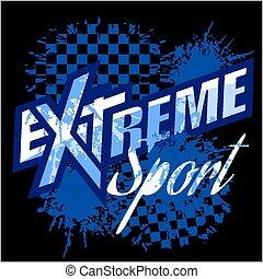 -, vetorial, tshirt., logotipo, desporto, extremo