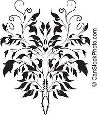 -, vettore, decorativ, ramo