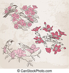 -, vettore, disegno, retro, illustrazioni, album, fiori, uccelli