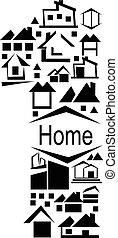 -, vettore, icona casa, astratto, fatto, set., 1, alfabeto, numero