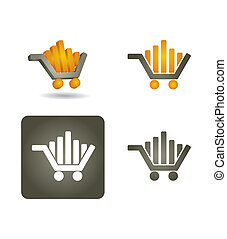 -, vettore, icona, set, shoping, automobile