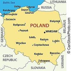 -, vettore, polonia, mappa, illustrazione