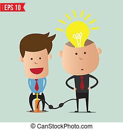 -, vettore, pompa, idea, cartone animato, uomo affari, eps10, illustrazione