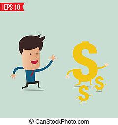 -, vettore, presa, uomo affari, eps10, soldi, illustrazione, tentando