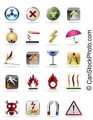 -, vettore, segni, icona, pericoli, set