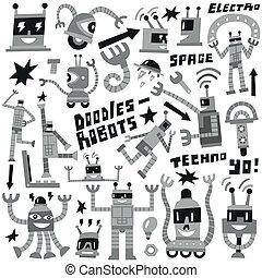 -, vettore, set, robot, icone