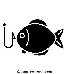 -, vettore, sfondo nero, pesca, icona, isolato, segno, 2, fish, illustrazione